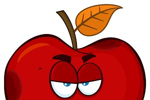 Grumpy Rotten Red Apple Fruit