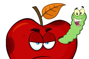 Worm In A Grumpy Rotten Red Apple
