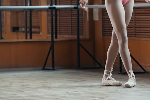 Close up of a ballet dancer's feet - point exercises