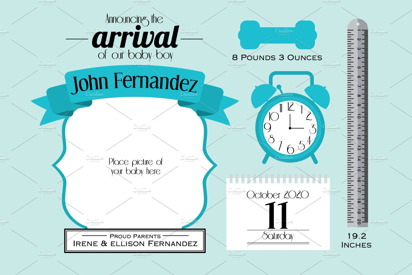 Baby Boy Announcement Card Template Graphics Creative