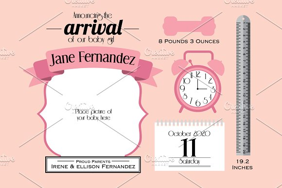 baby girl announcement card template graphics creative market