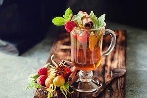 Herbal tea with raspberry