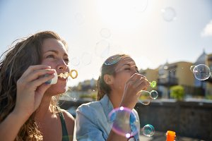 Girls having Fun at Sunny Day