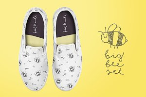 Hand drawn bees, patterns set