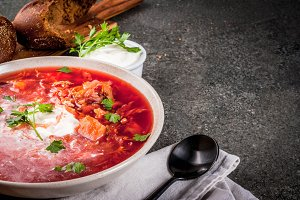 Autumn vegetable soup borscht