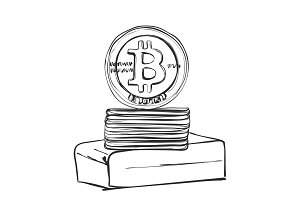 Bitcoin Hand drawn sketch. Cryptography