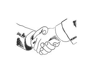 Hand drawn sketch illustration of a handshake