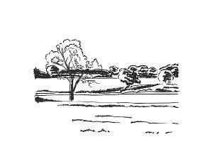 Hand drawn doodle landscape. Fields sketch