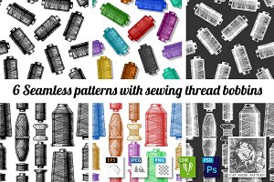 Patterns with sewing thread bobbins