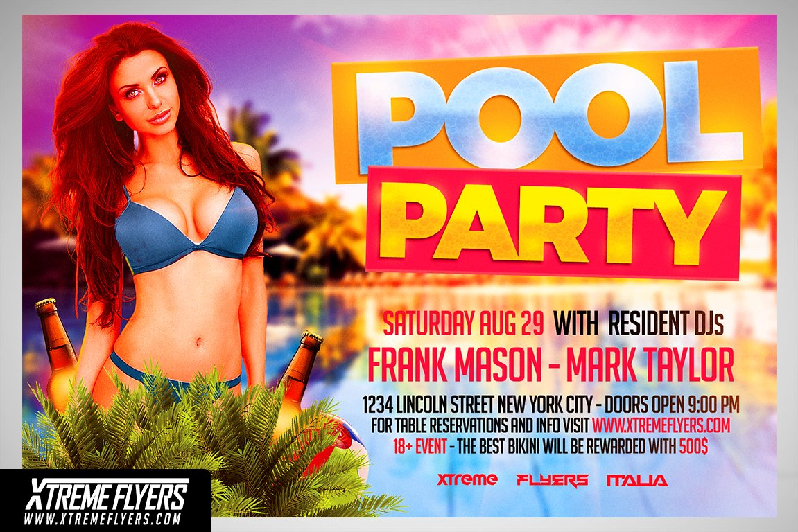 Pool Party Flyer Template ~ Flyer Templates ~ Creative Market