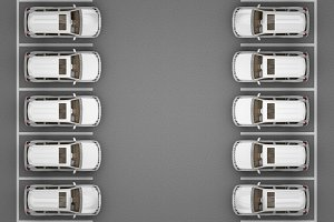 Parking of white jeeps top view