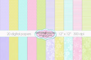 20 Springtime Pastel Papers.Set 1