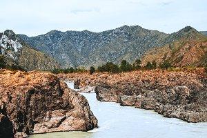 Mountain river on autumn day
