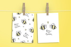 Bee in love, cards and patterns