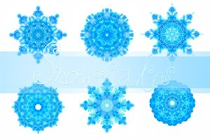 10 watercolor snowflakes