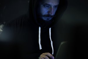 Man Hacking Computer