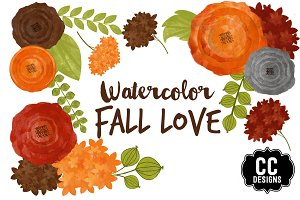 Watercolor Fall Love Autumn Clip Art