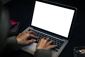Person Using Laptop (PNG)