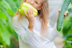 Adorable little girl harvesting in greenhouse. Portrait of kid with the big pepper in hands