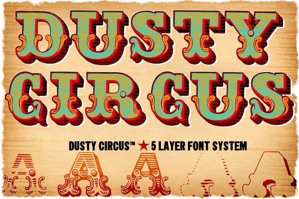 Dusty Circus™ 5 Layer Font System