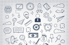 Vector Business Doodles Icons Set