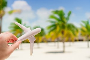 Small white miniature of an airplane on background of exotic beach and palmtrees