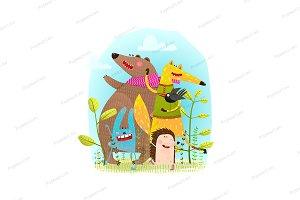 Bear Fox Hedgehog Rabbit and Crow