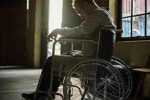 Man sitting in a wheelchair