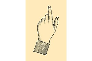 index finger shows gesture upward