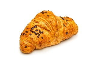 French chocolate croissant close up isolated