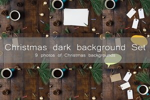 Christmas dark background set