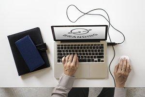 Branding concept on a laptop screen