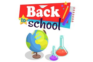 Back to School Poster with Globe and Lab Flasks