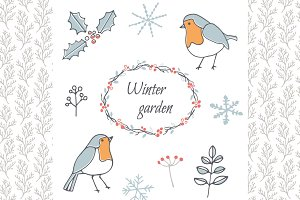 Winter garden - clipart and patterns