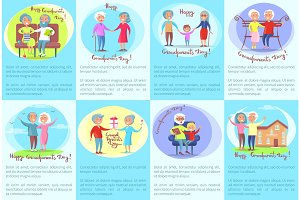 Happy Grandparents Day Posters with Older People