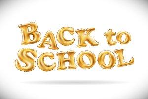 Back To School ballon gold letter
