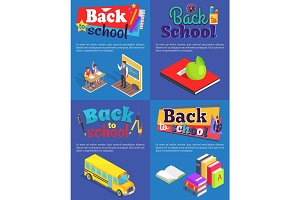 Back to School Set of Posters with Inscriptions