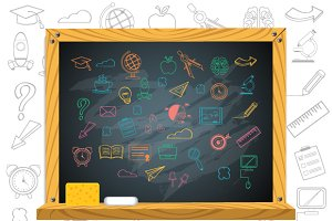 School Chalkboard & Education Icons