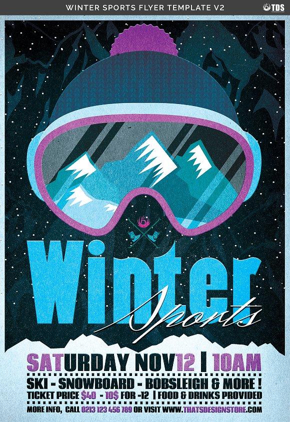 Winter Sports Flyer Template V2 Flyer Templates Creative Market