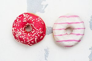 Sweet pink donuts