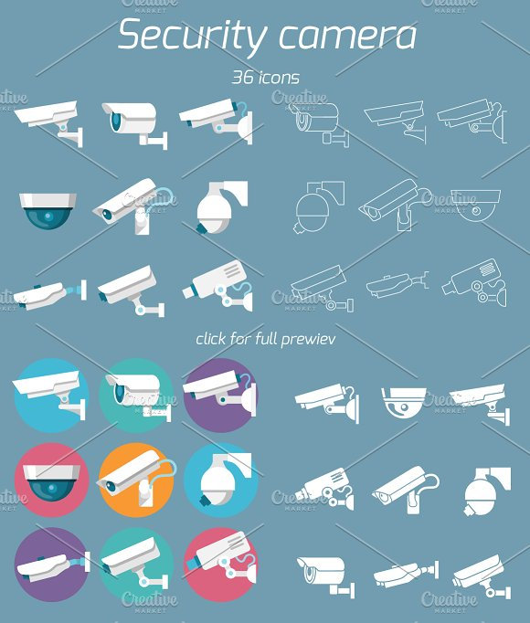 36 Security Camera Icons Icons Creative Market