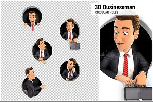 3D Businessman Circular Holes