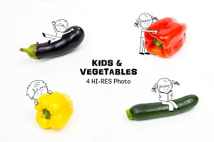 Fun kids playing with vegetables