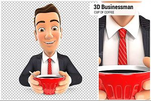 3D Businessman Drinking Coffee