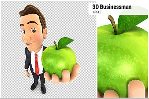 3D Businessman Holding Apple