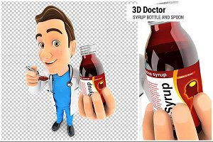 3D Doctor Holding Syrup Bottle