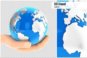 3D Hand Holding Earth