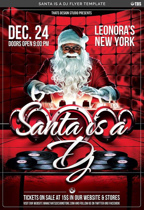 santa is a dj flyer template flyer templates creative market