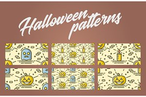 Set of halloween seamless patterns with pumpkin, ghost and candle. Vector backgrounds with linear objects.