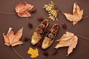 Autumn Arrives.Fashion Minimal.Retro.Fall Leaves
